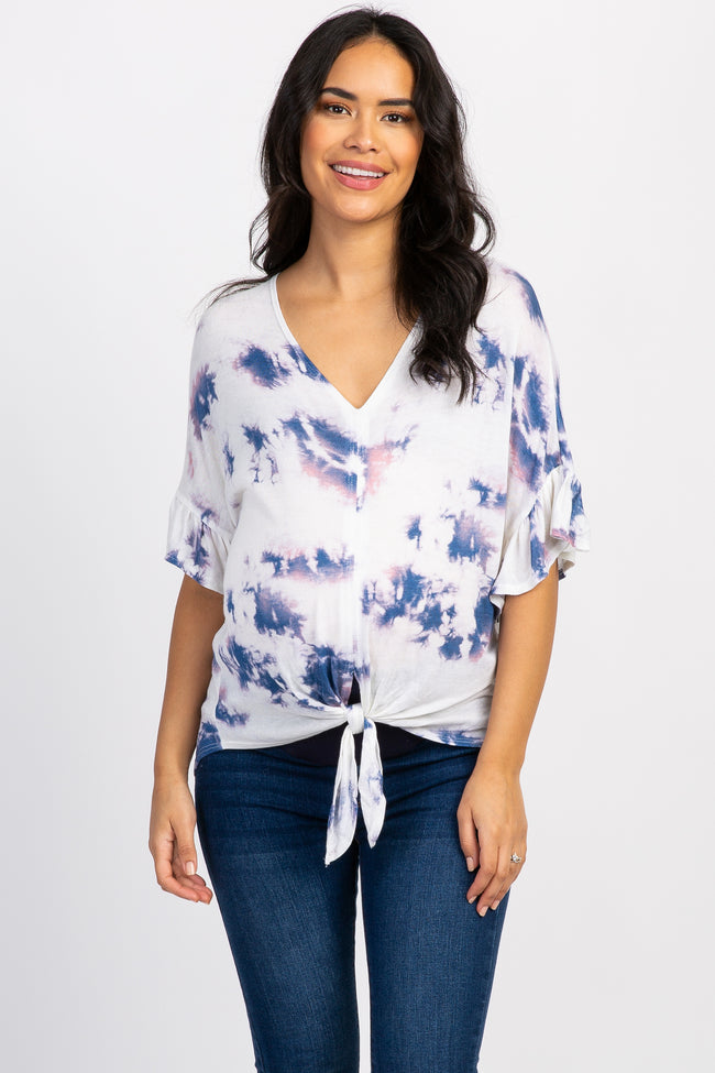 Ivory Tie Dye Knot Short Sleeve Maternity Top