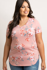 Mauve Floral V-Neck Short Sleeve Plus Maternity Top