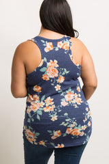 Navy Blue Faded Floral Print Plus Maternity Tank Top