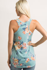 Mint Green Faded Floral Print Tank Top