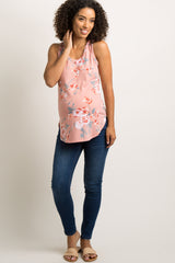 Mauve Faded Floral Print Maternity Tank Top