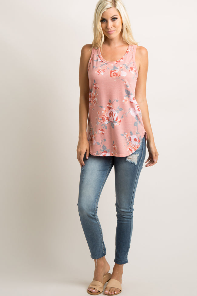 Mauve Faded Floral Print Tank Top