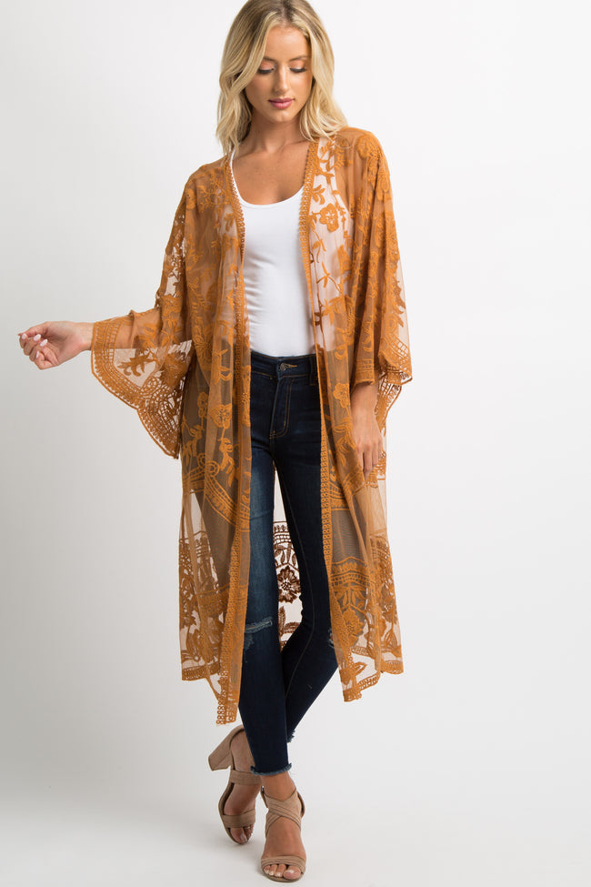 Camel Lace Mesh Long Maternity Cover Up