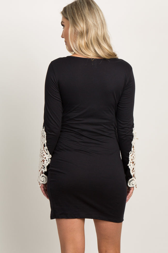 Black Crochet Sleeve Ruched Maternity Dress
