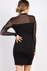 Black Mesh Long Sleeve Maternity Dress
