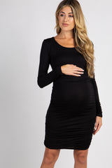 Black Ruched Long Sleeve Maternity Dress