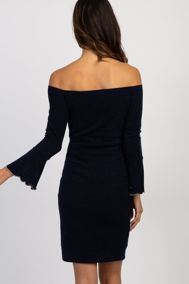 Navy Bell Sleeve Fitted Maternity Dress