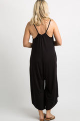 Black Solid Wide Leg Maternity Jumpsuit