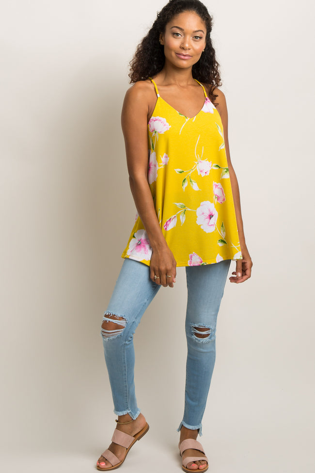 Yellow Floral Knit Cami Top
