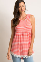 PinkBlush Coral Striped Crochet Trim Peplum Top