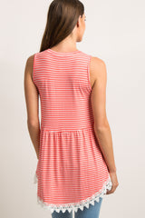 PinkBlush Coral Striped Crochet Trim Peplum Maternity Top