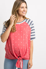 Red Polka Dot Striped Short Sleeve Tie Front Maternity Top