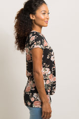Black Rose Print Knot Hem Top