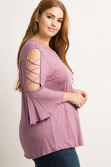 Lavender Interlaced Open Shoulder Plus Top