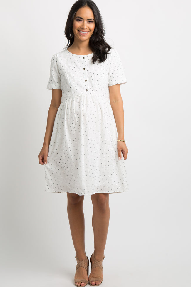 Ivory Printed Button Front Pleated Maternity Dress