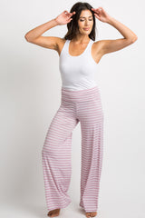 Lavender Striped Foldover Lounge Pants