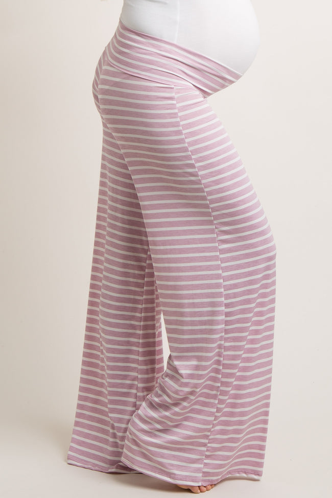 Lavender Striped Foldover Maternity Lounge Pants