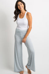 Light Blue Striped Foldover Lounge Pants