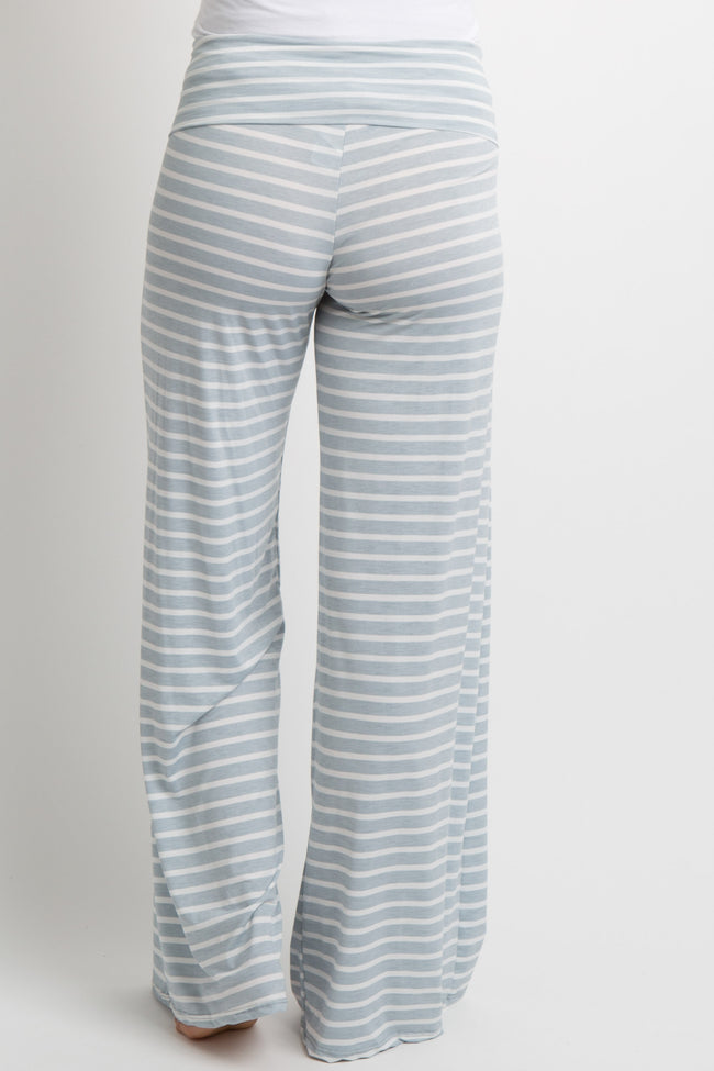 Light Blue Striped Foldover Maternity Lounge Pants