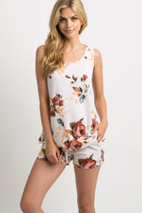 White Rose Floral Maternity Short Pajama Set