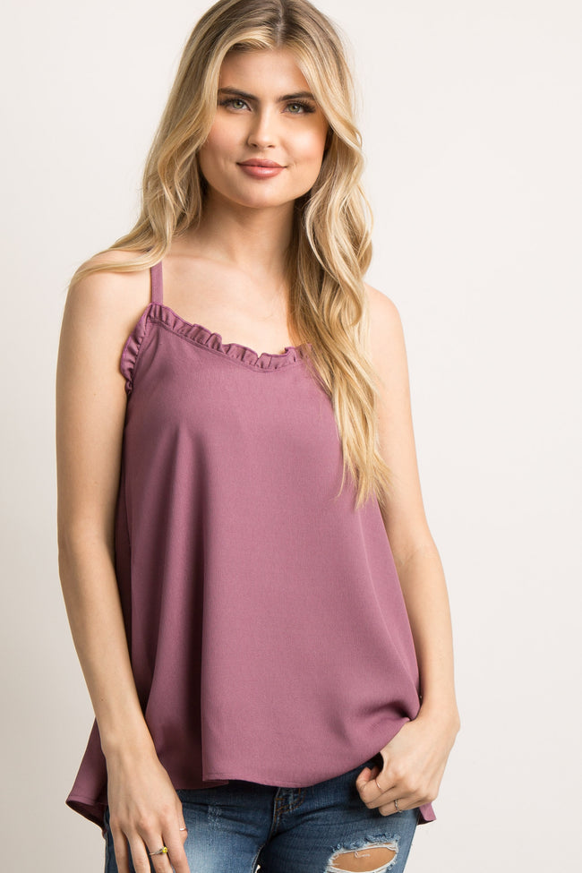Mauve Ruffle Trim Sweetheart Maternity Cami Top
