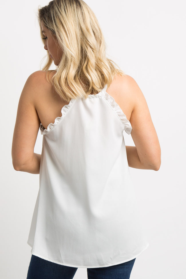 White Halter Back Ruffle Sleeveless Maternity Top