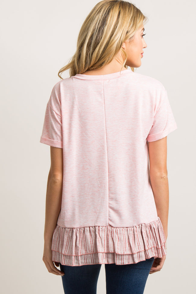 Pink Heathered Striped Ruffle Hem Maternity Top