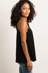 Black Scalloped Halter Neck Cami Top