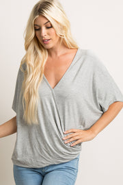 Heather Grey Knot Hem Dolman Top