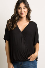 Black Dolman Wrap Front Maternity Top