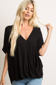 Black Dolman Wrap Front Top