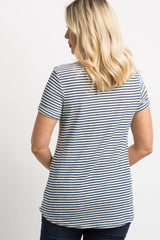 Blue Striped Pocket Maternity Top