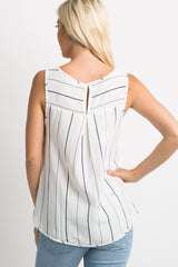 White Striped Pleated Back Tank Top