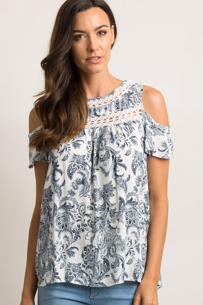 White Printed Crochet Cold Shoulder Top