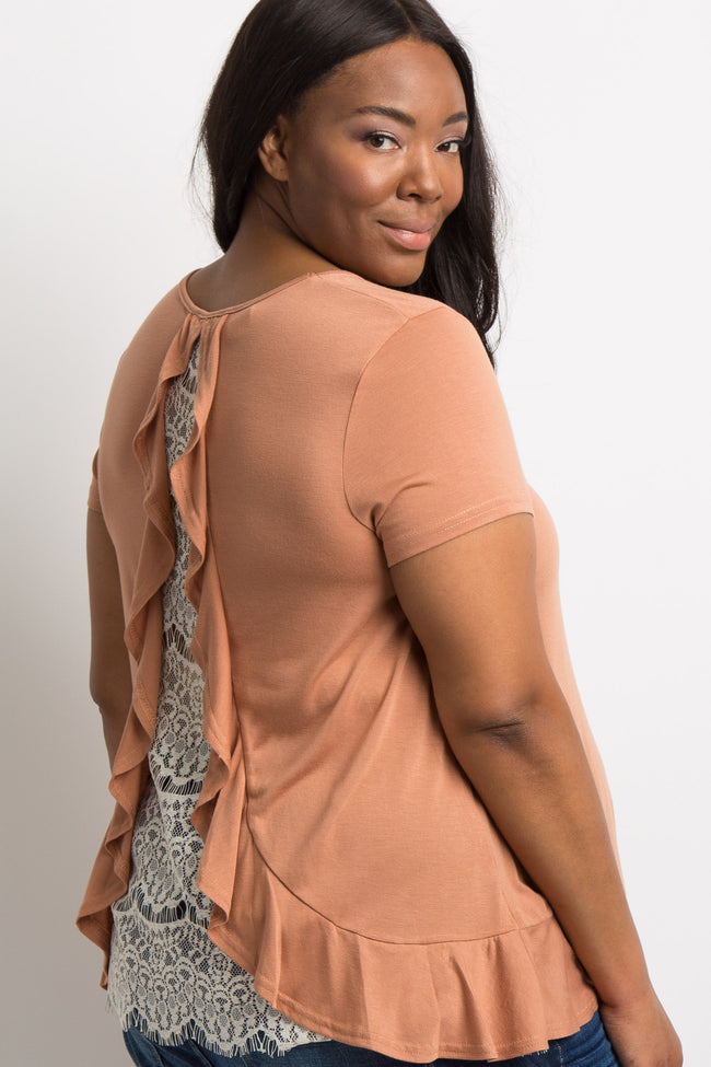 Rust Ruffle Trim Lace Back Plus Maternity Top