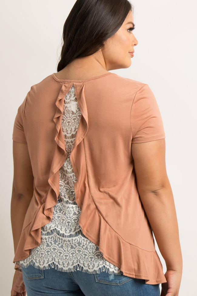 Rust Ruffle Trim Lace Back Plus Top