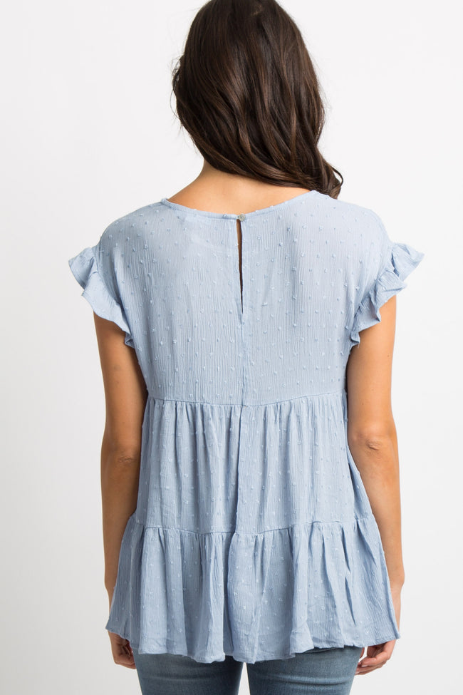 Light Blue Ruffle Accent Pleated Top