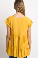 Yellow Ruffle Accent Pleated Maternity Top