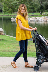 Yellow Ruffle Accent Pleated Top