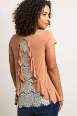 Rust Ruffle Trim Lace Back Maternity Top