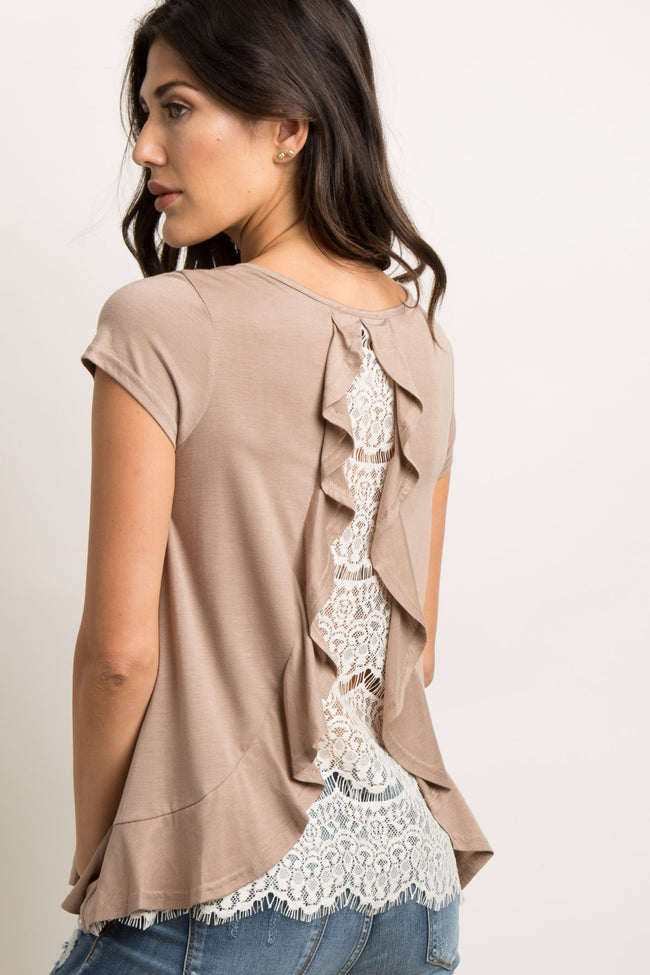 Mocha Ruffle Trim Lace Back Top