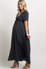 Navy Blue Polka Dot Button Front Maternity Maxi Dress