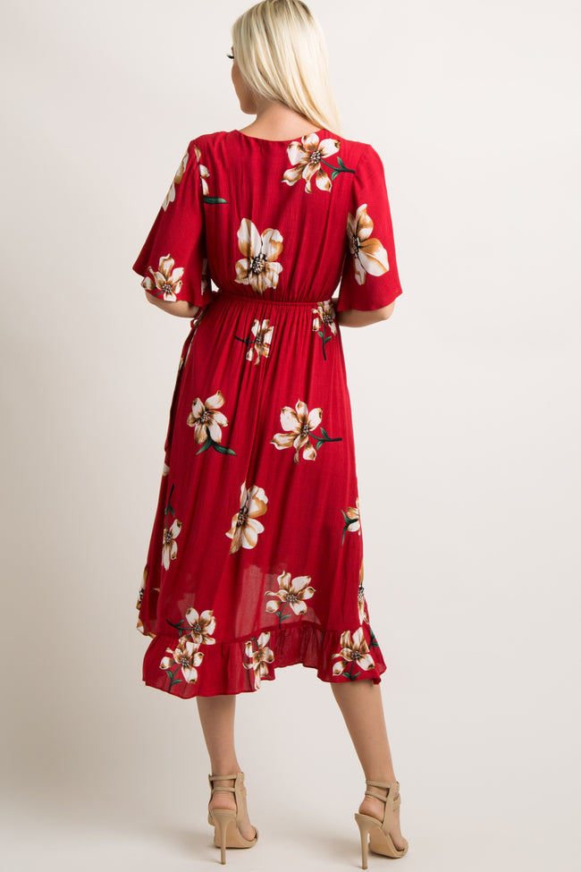 Red Floral Wrap Tie Midi Dress