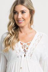 White Crisscross Tie Front Lace Trim Maternity Blouse