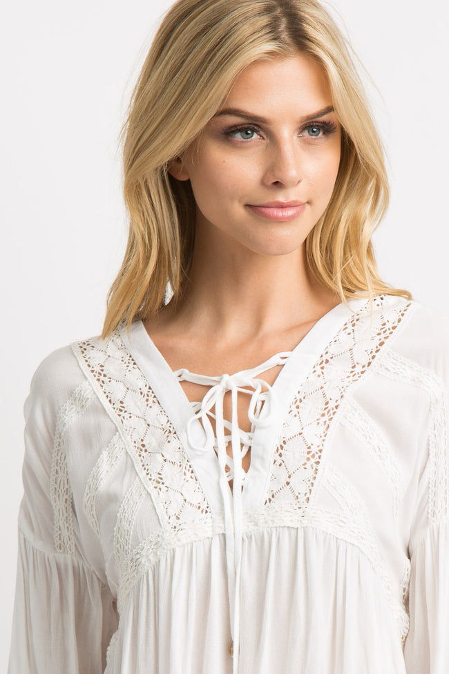 White Crisscross Tie Front Lace Trim Blouse