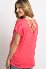Coral Crisscross Detailed Back Maternity Top