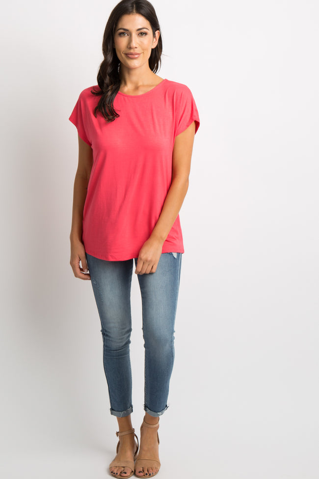 Coral Crisscross Detailed Back Top