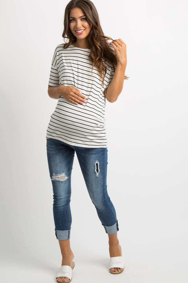 White Striped Knot Back Dolman Maternity Top