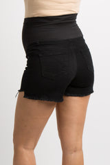 Black Frayed Hem Maternity Jean Shorts