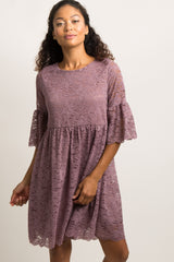 Mauve Lace Overlay Ruffle Pleated Dress
